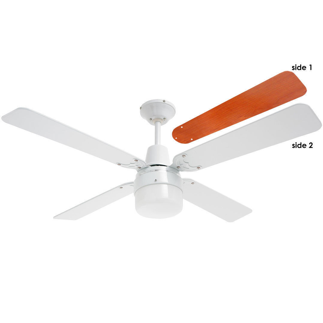 Heller 1200Mm White Ceiling Fan 4 Wood Blades With Clipper