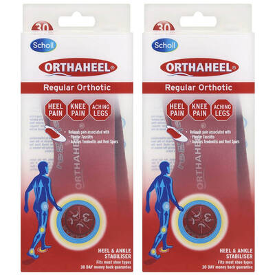 2pk XL Scholl Orthaheel Regular Insoles Orthotics Support Pain Feet Men 13-14
