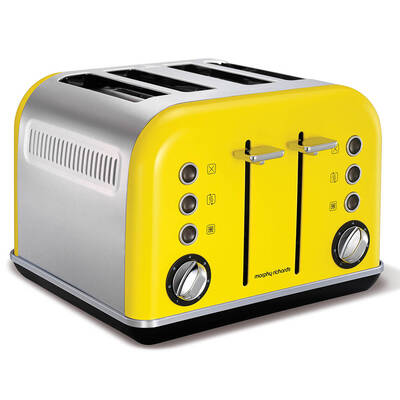 Morphy Richards 242025 Yellow 4 Slice Accents Toaster