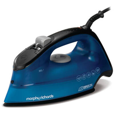 Blue Morphy Richards Breeze Ceramic Soleplate Iron/Ironing Clothes/Self Clean
