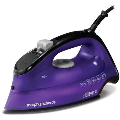 Purple Morphy Richards Breeze Ceramic Steam Ionic Iron Ironing Clothes 2400W