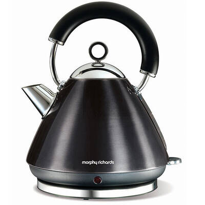 Morphy Richards 43779 1.5L Kettle Pearl Black Traditional Whistle Cordless Base