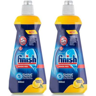 2x Finish Lemon 400ml Dishwasher Rinse Aid
