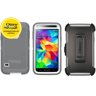 Otterbox White/Gunmetal Grey Defender Heavy Duty Tough Case Cover/Bump Shock For Samsung Galaxy S5