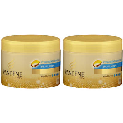 2x 60g Pantene Styling Treatment Cream Smoothing Straightening Anti Frizz Hair