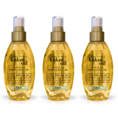 3x OGX Organix Kukui Hydrating Oil Hair Mist Spray Defrizz Anti Frizz Treatment