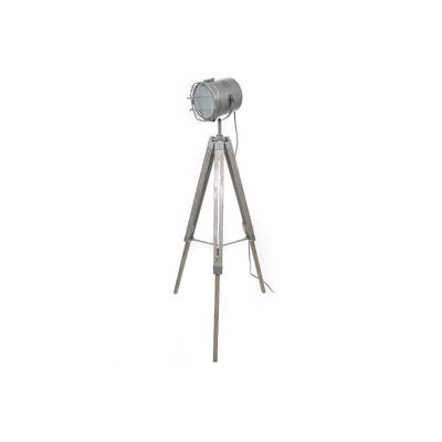 Rustic Timber/Metal Tripod Floor Lamp/Light W/ Ind
