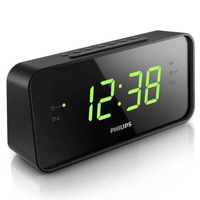 Philips Aj3232B Am/Fm Big Display Clock Radio Dual Alarm For Two People/Couples