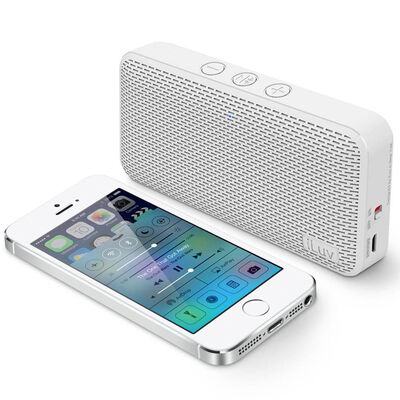 White Iluv Mini Portable Bluetooth Speaker For Apple/Android Smartphone/Tablet
