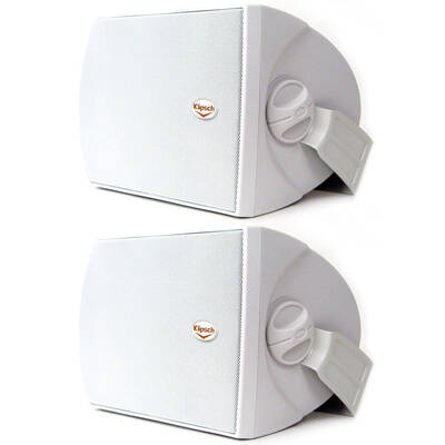 Klipsch Aw-500 White 260W Outdoor Speaker Pair W/ Wall Mount/Paintable Grille
