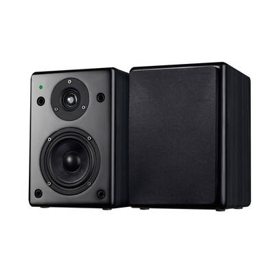 Wintal Bas4B 4 Inch Active With Amp Bookshelf Speakers 60W - Black Woodgrain