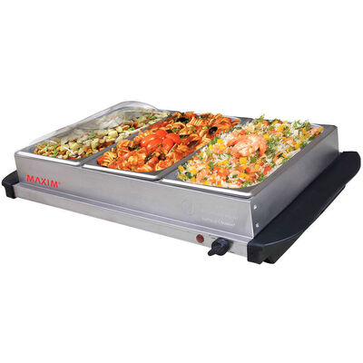 Maxim Buffet Server Food Warmer Stainless Steel W/ 3X 2L Tray/3 Heat Setting