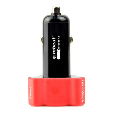 mbeat Triple Port Rapid Car Charger Red