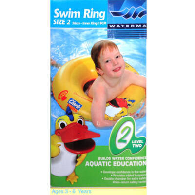 Size 2 Inflatable Swim Ring 56Cm Age 3-6 Year Aquatic Education Kids Children Swimming Pool Training Tube