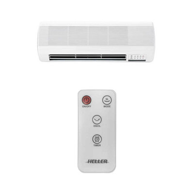 Heller Electric Ceramic Wall Mountable Heater/Indoor/Remote Control/2 Heat/Timer