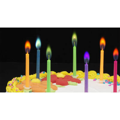 6 Pack Coloured Flame Party Candles