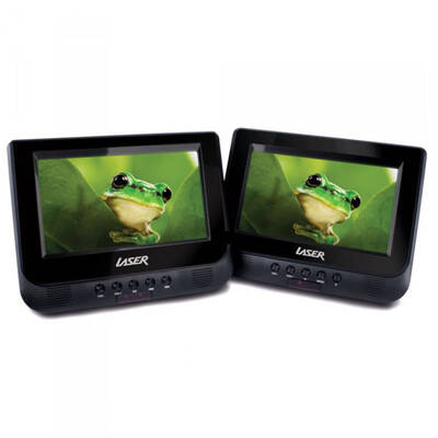 "Laser Portable Dvd Player Dual 7"" Screen In Car W/ Headrest Mount Straps Holder"