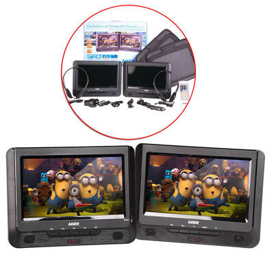 "Laser Portable Dvd Player Dual 9"" Screen In Car W/ Headrest Mount Straps Holder"