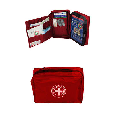 Red 22Pc Compact Essential First Aid Kit Treatment Medical Travel/Camping/Hiking