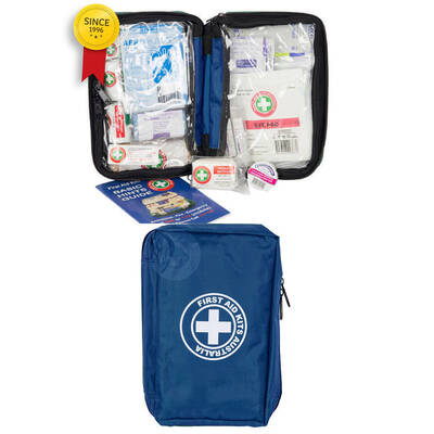 Blue Essential First Aid Kit Travel/Travelling Safety Medical Injury Treatment