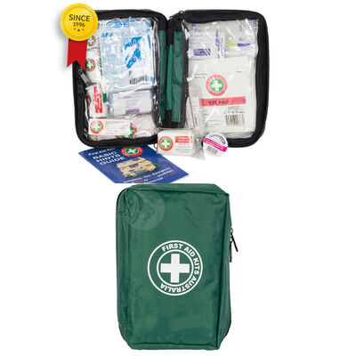 Green Essential First Aid Kit Travel/Travelling Safety Medical Injury Treatment