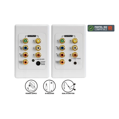 Cat5 In-Wall Component Rgb Video Rca Coaxial Ir Infrared Extender Kit Wall Plate