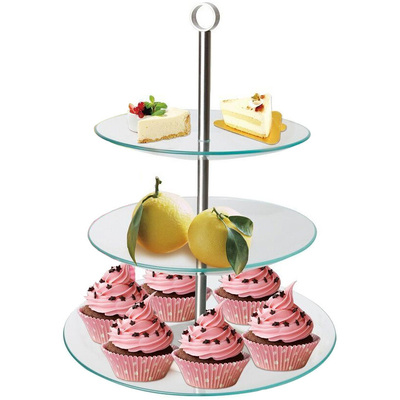 3 Tier Glass Cupcake Cake Cheese Stand Platter Dis