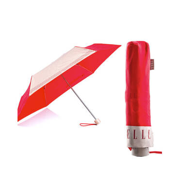 Elle Red Fold Foldable Compact Light Lightweight Rain Umbrella/Brolly/Sun Shade