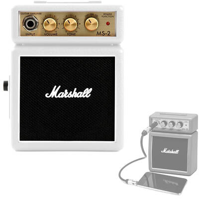 Marshall MS-2W White Portable Micro Amplifier Amp Speaker for Guitar Instrument