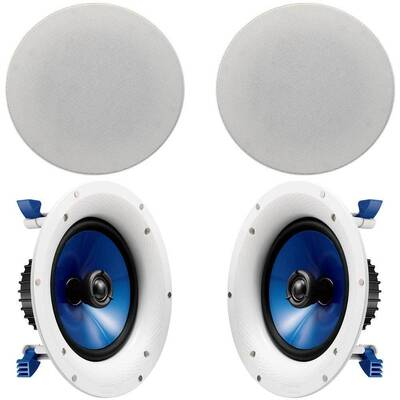 Yamaha NSIC600 6inch 110W White Pair In-ceiling Speakers 1inch Swivel Tweeter