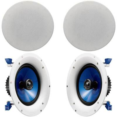 "White Pair 8"" 140W In-ceiling Speaker 1""  Swivel Tweeter"
