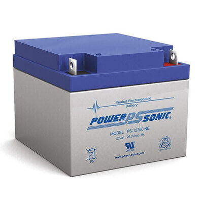 Power Sonic Ps12260 12V 26Amp Sla Rechargeable Battery Nb2 Terminal Sealed Lead Acid