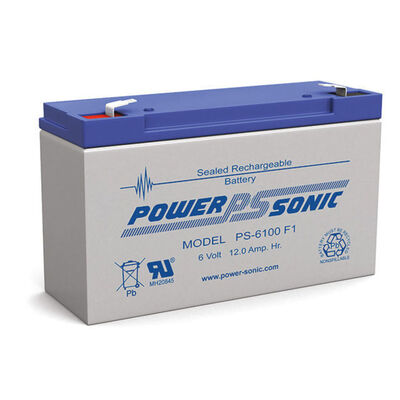 Power Sonic Ps6100 6V 12Amp Sla Rechargeable Battery F1 Terminal Sealed Lead Aci