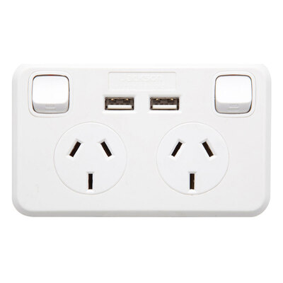 Wall plate Dual Powerpoint 2.1Amp w/2 USB Port Charger