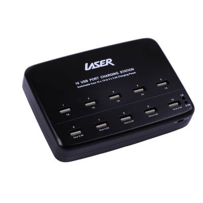 Laser Black Universal 10X Multi-Purpose Sockets Usb Port Charging Station/ Charger 1A/2.4A Outputs  Pwusb101Blk