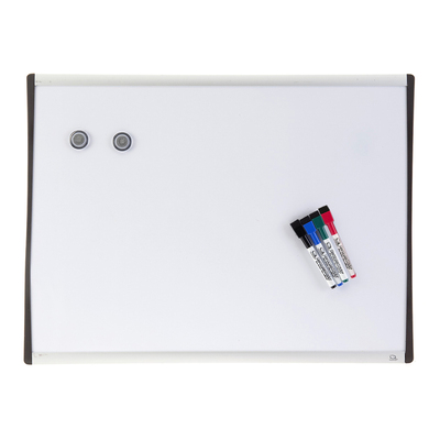 61X46Cm Wall Mountable Magnetic Whiteboard/Aluminium Frame/4X Markers/2X Magnets