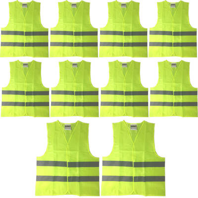10pk High Visibility Safety Work Vest