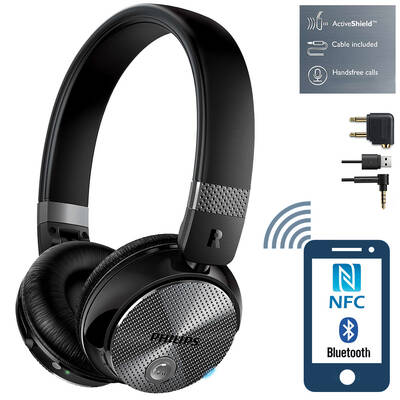 Wireless Bluetooth NFC Active Noise-Cancelling ANC Headphones Headset