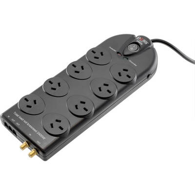 Doss Black 1.8M 8 Way Surge Protected Power Board