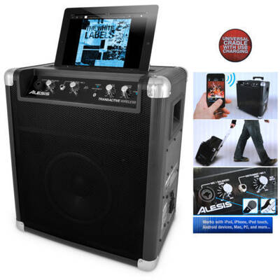 Alesis Transactive Wireless Portable/Wheels Bluetooth Speaker Iphone/Ipad/Mac/Pc