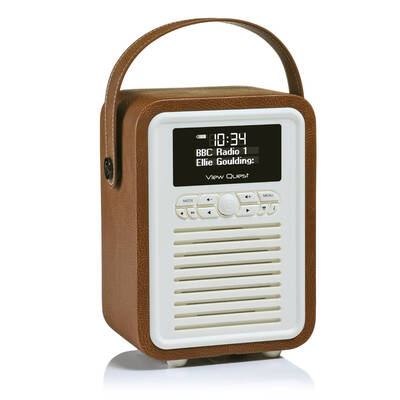 Brown View Quest Retro Mini DAB Digital Radio/USB/AUX/Bluetooth Portable Speaker