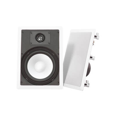 "Ws800 Wintal White 8"" In Wall/Ceiling Speakers Pair 100W/Paintable Metal Grille"