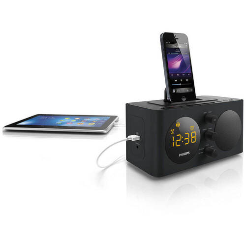 Philips Aj6200Db Fm Alarm Clock Radio Dock Docking Station For Iphone 5S 6 6S Ipod