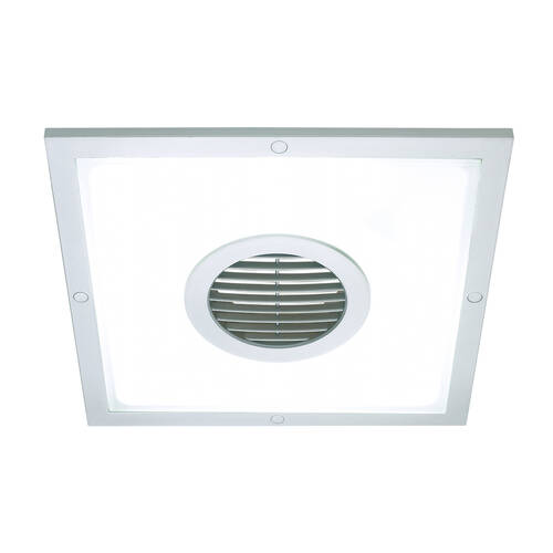 Silver Heller 250mm Square Ceiling Light Exhaust Fan Air Flow Bathroom Laundry