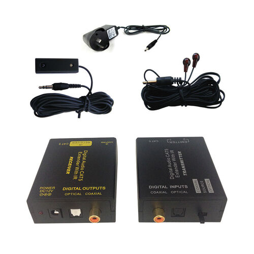 Digital Audio CAT5/CAT6 Extender Receiver/Transmitter IR Infrared/Coaxial/Toslink