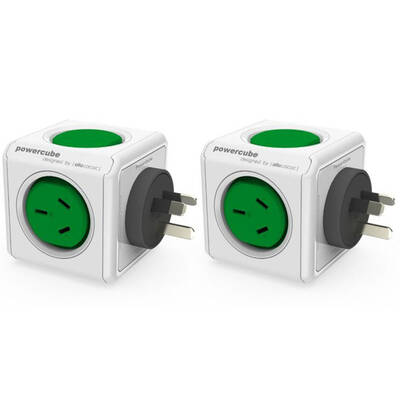 2PK Green Powercube Original 2 Socket Power Board w/ Dual USB Port