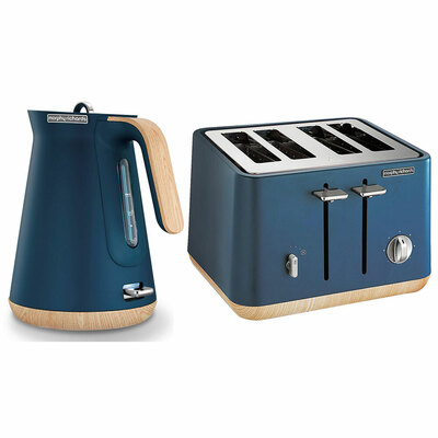 Morphy Richards Scandi Deep Blue 4 Slice Toaster w/ Cordless Kettle
