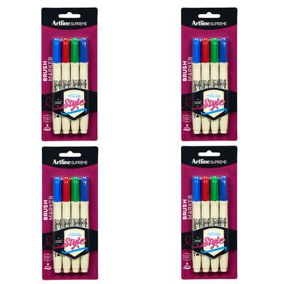 4x 4pc Artline Supreme Brush Markers - Assorted Colours