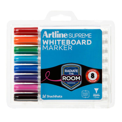 8pc Artline Supreme Whiteboard Markers - Assorted