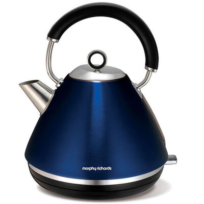 Metallic Blue Morphy Richards 1.5L Accents Traditional Pyramid Cordless Kettle